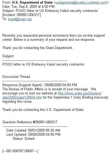 state department responds to pogo letter       sort of