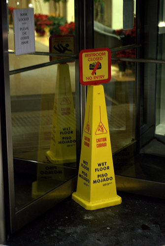Revolving door caution