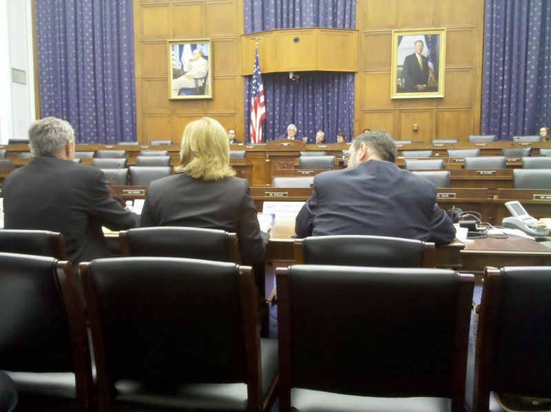 Angela, in the middle, before the House Financial Services Committee