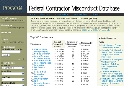 POGO's Federal Contractor Misconduct Database