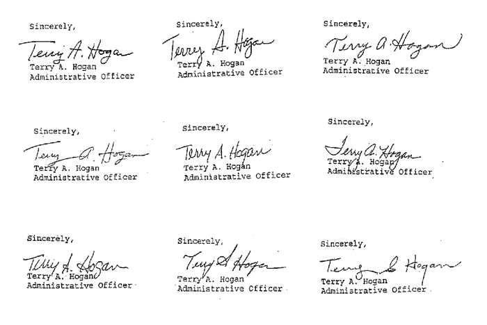 The many signatures of terry a hogan