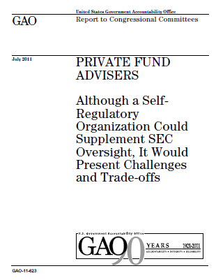 A new GAO report identifies several key problems with self-regulation in the financial sector