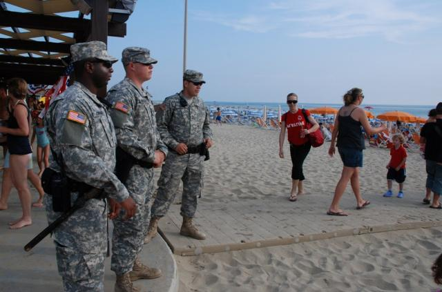U.S. soliders make sure everyone stayed safe at the Independence Day celebrations at the American beach