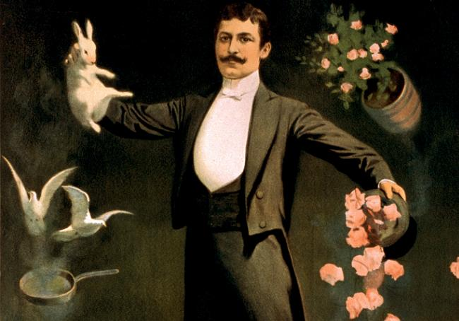 Flickr_-_…trialsanderrors_-_Zan_Zig_performing_with_rabbit_and_roses,_magician_poster,_1899